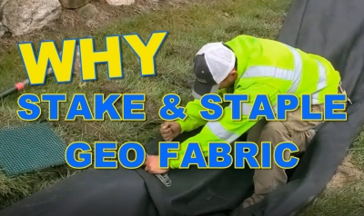 Stake and Staple Geo Fabric for French drain