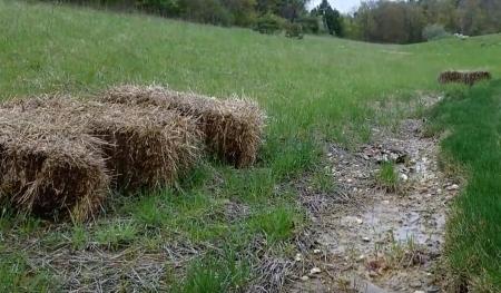 Bails of Hay to Divert Water