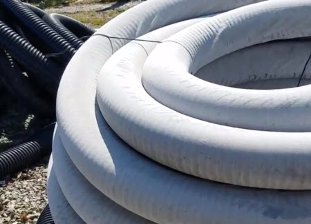 Sock/Filter on French Drain Corrugated Pipe