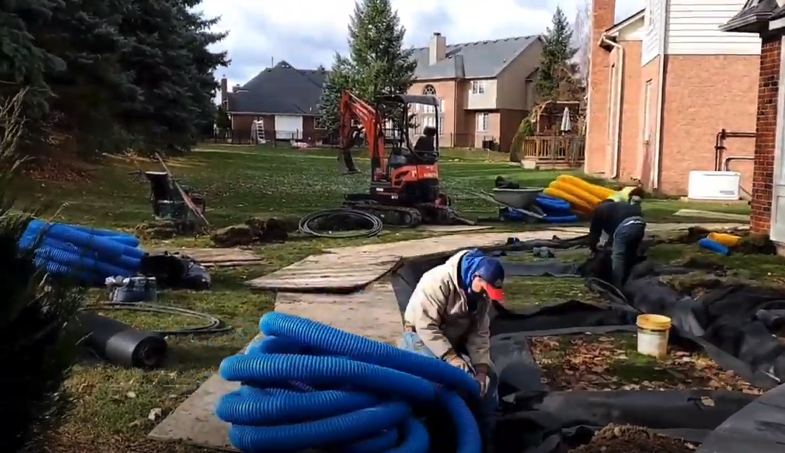 Lawn Drainage in Michigan: Fixing Issues from Previous Landscape Install